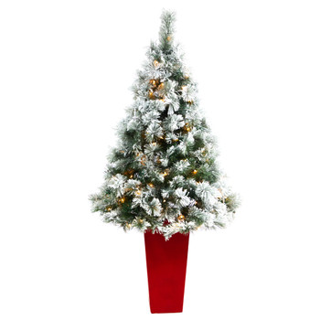 5 Flocked Oregon Pine Artificial Christmas Tree with 100 Clear Lights and 215 Bendable Branches in Red Tower Planter - SKU #T2424