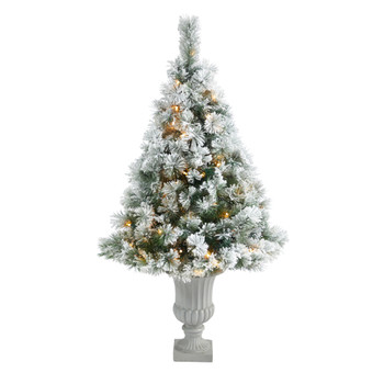 56 Flocked Oregon Pine Artificial Christmas Tree with 100 Clear Lights and 215 Bendable Branches in Decorative Urn - SKU #T2426
