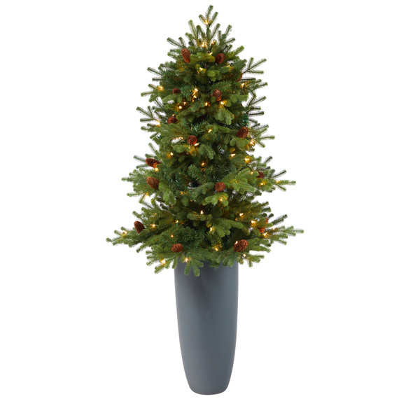 5 Yukon Mountain Fir Artificial Christmas Tree with 100 Clear Lights Pine Cones and 386 Bendable Branches in Gray Planter - SKU #T2427