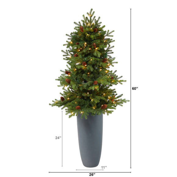 5 Yukon Mountain Fir Artificial Christmas Tree with 100 Clear Lights Pine Cones and 386 Bendable Branches in Gray Planter - SKU #T2427 - 1