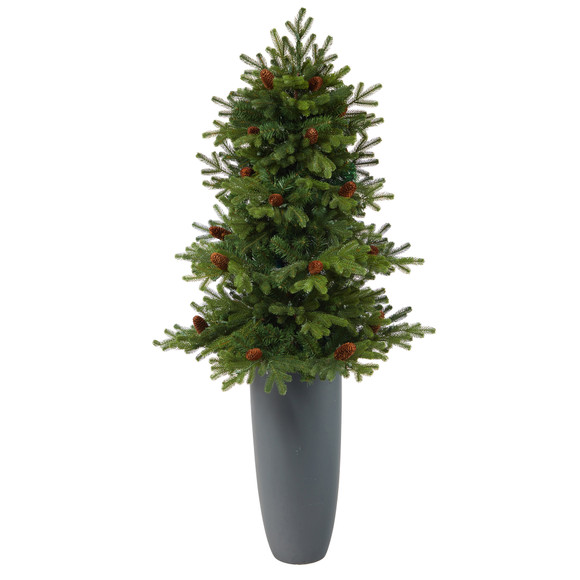5 Yukon Mountain Fir Artificial Christmas Tree with 100 Clear Lights Pine Cones and 386 Bendable Branches in Gray Planter - SKU #T2427 - 2