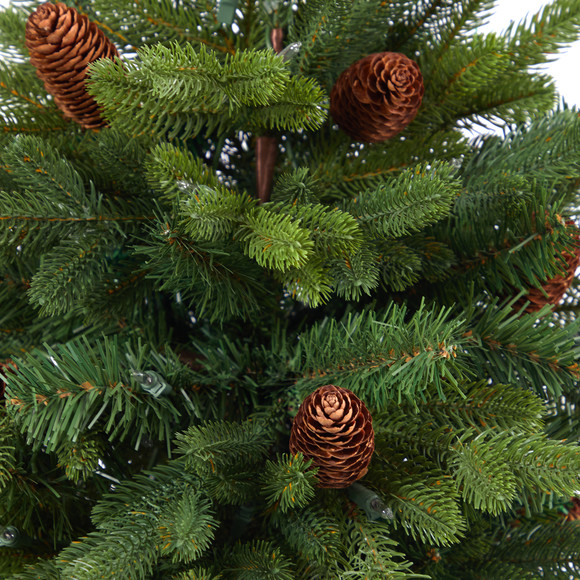5 Yukon Mountain Fir Artificial Christmas Tree with 100 Clear Lights Pine Cones and 386 Bendable Branches in Gray Planter - SKU #T2427 - 4