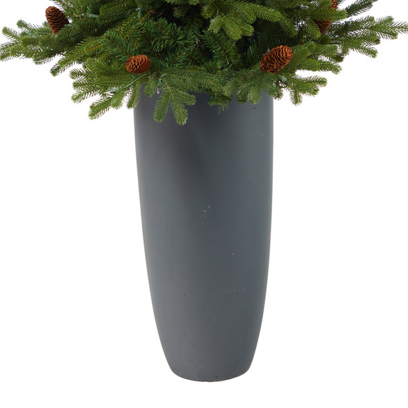 5 Yukon Mountain Fir Artificial Christmas Tree with 100 Clear Lights Pine Cones and 386 Bendable Branches in Gray Planter - SKU #T2427 - 5