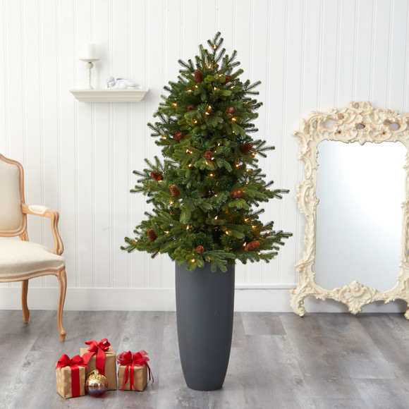 5 Yukon Mountain Fir Artificial Christmas Tree with 100 Clear Lights Pine Cones and 386 Bendable Branches in Gray Planter - SKU #T2427 - 6