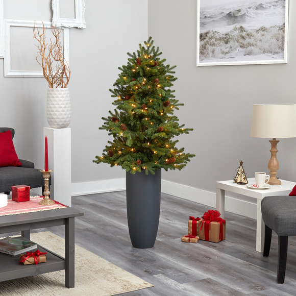 5 Yukon Mountain Fir Artificial Christmas Tree with 100 Clear Lights Pine Cones and 386 Bendable Branches in Gray Planter - SKU #T2427 - 7