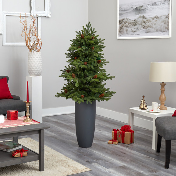 5 Yukon Mountain Fir Artificial Christmas Tree with 100 Clear Lights Pine Cones and 386 Bendable Branches in Gray Planter - SKU #T2427 - 8