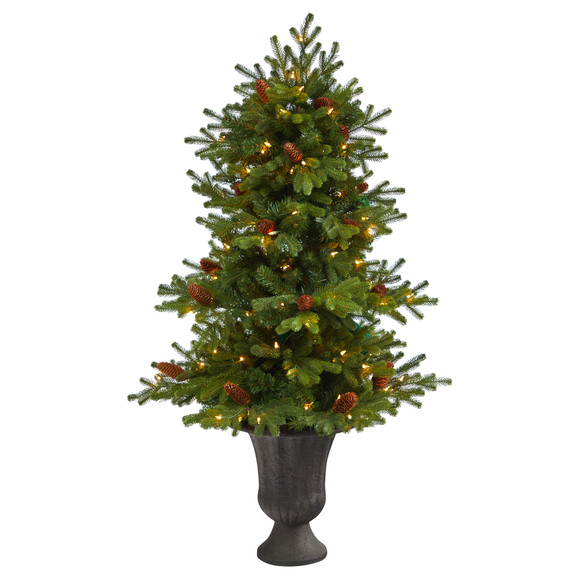 4.5 Yukon Mountain Fir Artificial Christmas Tree with 100 Clear Lights Pine Cones and 386 Bendable Branches in Charcoal Planter - SKU #T2428
