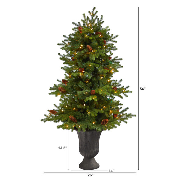 4.5 Yukon Mountain Fir Artificial Christmas Tree with 100 Clear Lights Pine Cones and 386 Bendable Branches in Charcoal Planter - SKU #T2428 - 1