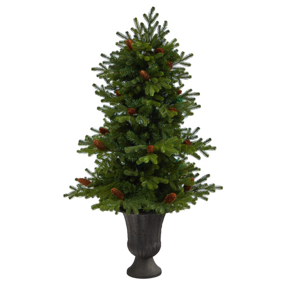 4.5 Yukon Mountain Fir Artificial Christmas Tree with 100 Clear Lights Pine Cones and 386 Bendable Branches in Charcoal Planter - SKU #T2428 - 2