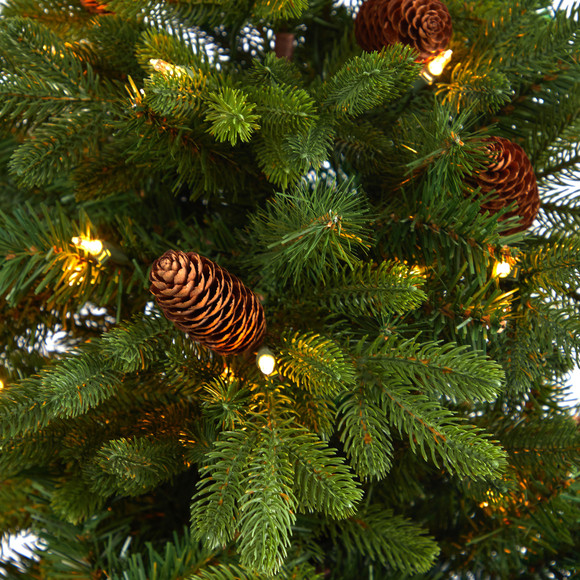 4.5 Yukon Mountain Fir Artificial Christmas Tree with 100 Clear Lights Pine Cones and 386 Bendable Branches in Charcoal Planter - SKU #T2428 - 3
