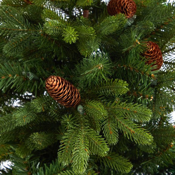 4.5 Yukon Mountain Fir Artificial Christmas Tree with 100 Clear Lights Pine Cones and 386 Bendable Branches in Charcoal Planter - SKU #T2428 - 4