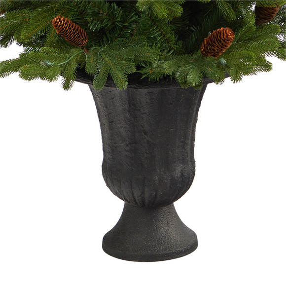 4.5 Yukon Mountain Fir Artificial Christmas Tree with 100 Clear Lights Pine Cones and 386 Bendable Branches in Charcoal Planter - SKU #T2428 - 5