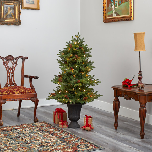4.5 Yukon Mountain Fir Artificial Christmas Tree with 100 Clear Lights Pine Cones and 386 Bendable Branches in Charcoal Planter - SKU #T2428 - 7