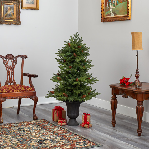4.5 Yukon Mountain Fir Artificial Christmas Tree with 100 Clear Lights Pine Cones and 386 Bendable Branches in Charcoal Planter - SKU #T2428 - 8