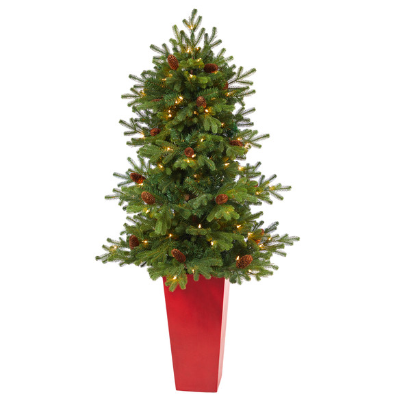 56 Yukon Mountain Fir Artificial Christmas Tree with 100 Clear Lights Pine Cones and 386 Bendable Branches in Red Tower Planter - SKU #T2429