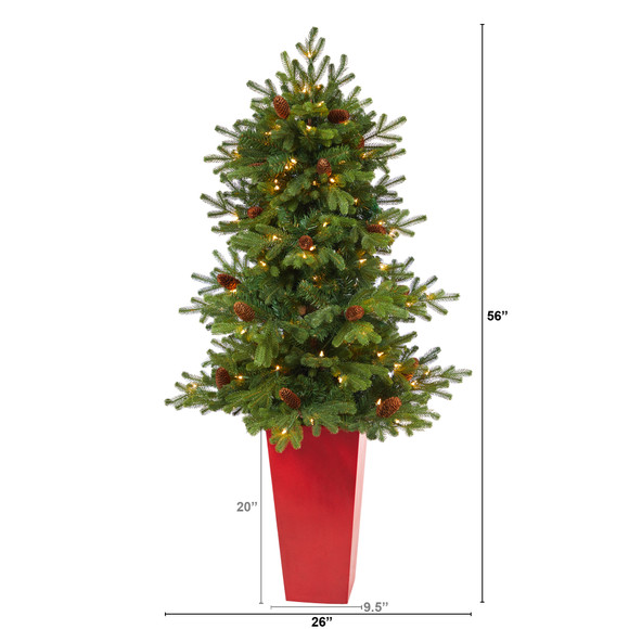 56 Yukon Mountain Fir Artificial Christmas Tree with 100 Clear Lights Pine Cones and 386 Bendable Branches in Red Tower Planter - SKU #T2429 - 1