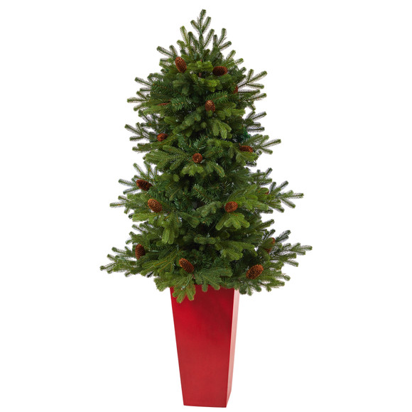 56 Yukon Mountain Fir Artificial Christmas Tree with 100 Clear Lights Pine Cones and 386 Bendable Branches in Red Tower Planter - SKU #T2429 - 2