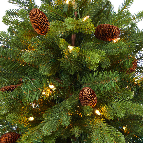 56 Yukon Mountain Fir Artificial Christmas Tree with 100 Clear Lights Pine Cones and 386 Bendable Branches in Red Tower Planter - SKU #T2429 - 3