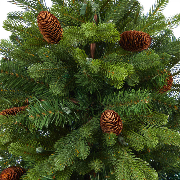 56 Yukon Mountain Fir Artificial Christmas Tree with 100 Clear Lights Pine Cones and 386 Bendable Branches in Red Tower Planter - SKU #T2429 - 4