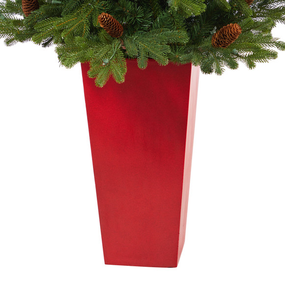 56 Yukon Mountain Fir Artificial Christmas Tree with 100 Clear Lights Pine Cones and 386 Bendable Branches in Red Tower Planter - SKU #T2429 - 5