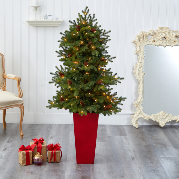 56 Yukon Mountain Fir Artificial Christmas Tree with 100 Clear Lights Pine Cones and 386 Bendable Branches in Red Tower Planter - SKU #T2429 - 6