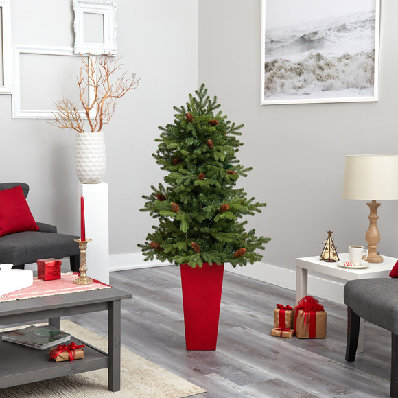 56 Yukon Mountain Fir Artificial Christmas Tree with 100 Clear Lights Pine Cones and 386 Bendable Branches in Red Tower Planter - SKU #T2429 - 8