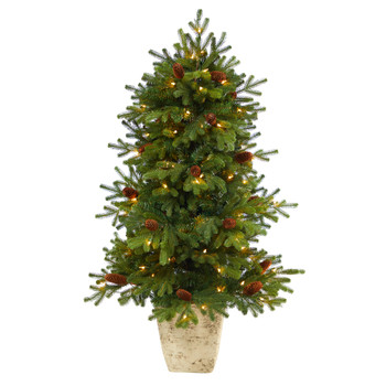 4 Yukon Mountain Fir Artificial Christmas Tree with 100 Clear Lights Pine Cones and 386 Bendable Branches in Country White Planter - SKU #T2430