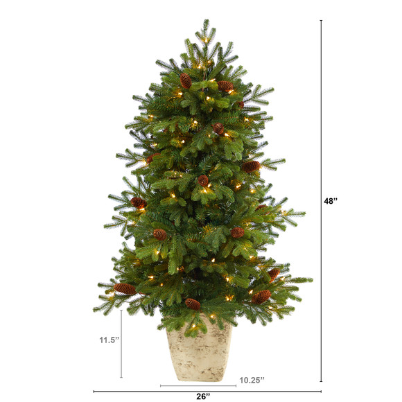 4 Yukon Mountain Fir Artificial Christmas Tree with 100 Clear Lights Pine Cones and 386 Bendable Branches in Country White Planter - SKU #T2430 - 1