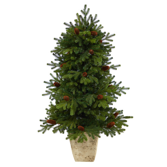 4 Yukon Mountain Fir Artificial Christmas Tree with 100 Clear Lights Pine Cones and 386 Bendable Branches in Country White Planter - SKU #T2430 - 2