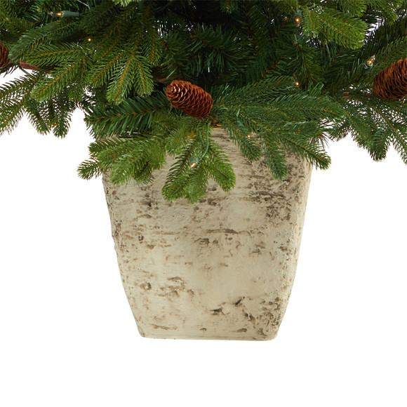 4 Yukon Mountain Fir Artificial Christmas Tree with 100 Clear Lights Pine Cones and 386 Bendable Branches in Country White Planter - SKU #T2430 - 5
