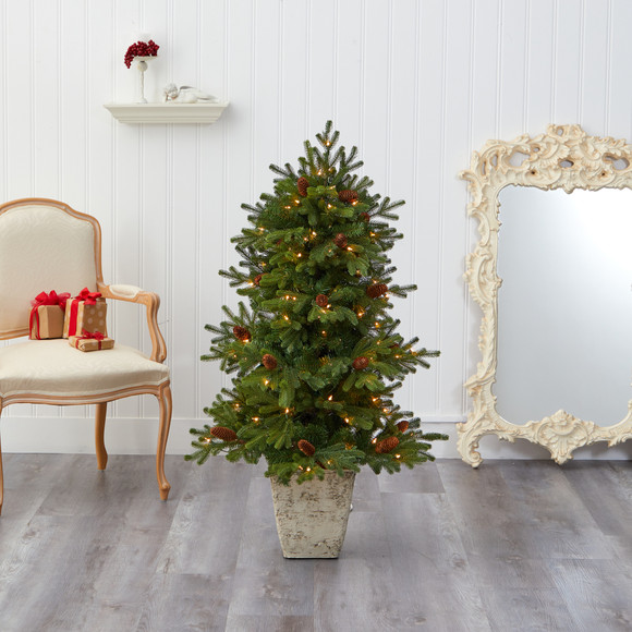 4 Yukon Mountain Fir Artificial Christmas Tree with 100 Clear Lights Pine Cones and 386 Bendable Branches in Country White Planter - SKU #T2430 - 6