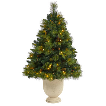 4.5 North Carolina Mixed Pine Artificial Christmas Tree with 130 Warm White LED Lights 459 Bendable Branches and Pinecones in Decorative Urn - SKU #T2431