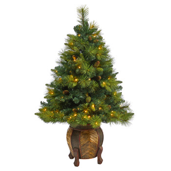 52 North Carolina Mixed Pine Artificial Christmas Tree with 130 Warm White LED Lights 459 Bendable Branches and Pinecones in Decorative Planter - SKU #T2432
