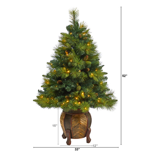 52 North Carolina Mixed Pine Artificial Christmas Tree with 130 Warm White LED Lights 459 Bendable Branches and Pinecones in Decorative Planter - SKU #T2432 - 1