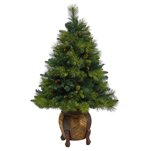 52 North Carolina Mixed Pine Artificial Christmas Tree with 130 Warm White LED Lights 459 Bendable Branches and Pinecones in Decorative Planter - SKU #T2432 - 2