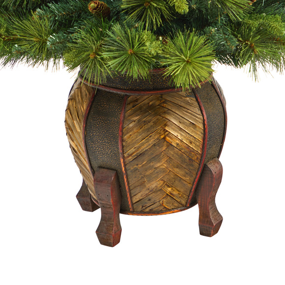 52 North Carolina Mixed Pine Artificial Christmas Tree with 130 Warm White LED Lights 459 Bendable Branches and Pinecones in Decorative Planter - SKU #T2432 - 5