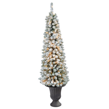 62 Flocked Pencil Artificial Christmas Tree with 200 Clear Lights and 318 Bendable Branches in Charcoal Urn - SKU #T2433