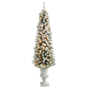 5.5 Flocked Pencil Artificial Christmas Tree with 200 Clear Lights and 318 Bendable Branches in Decorative Urn - SKU #T2434