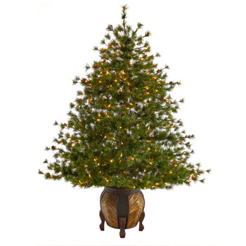 5.5 Colorado Mountain Pine Artificial Christmas Tree with 250 Clear Lights 669 Bendable Branches and Pine Cones in Decorative Planter - SKU #T2435