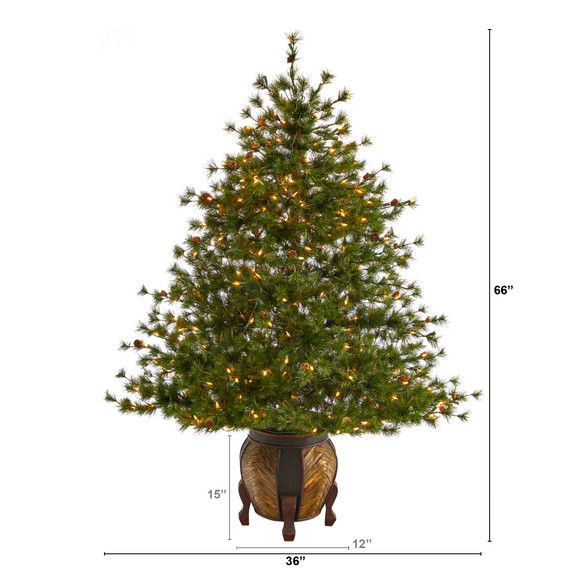 5.5 Colorado Mountain Pine Artificial Christmas Tree with 250 Clear Lights 669 Bendable Branches and Pine Cones in Decorative Planter - SKU #T2435 - 1