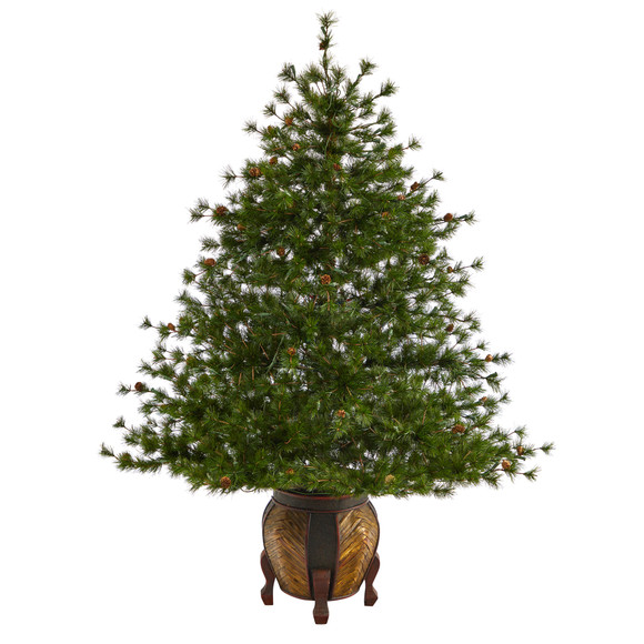 5.5 Colorado Mountain Pine Artificial Christmas Tree with 250 Clear Lights 669 Bendable Branches and Pine Cones in Decorative Planter - SKU #T2435 - 2