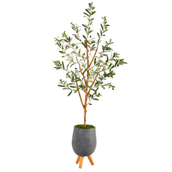 4.5 Olive Artificial Tree in Gray Planter with Stand - SKU #T2440