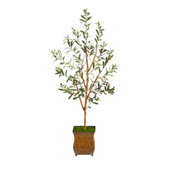 50 Olive Artificial Tree in Metal Planter - SKU #T2441