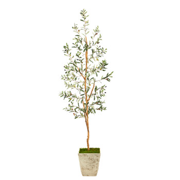 70 Olive Artificial Tree in Country White Planter - SKU #T2447