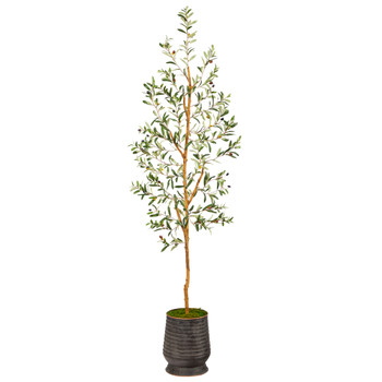 74 Olive Artificial Tree in Ribbed Metal Planter - SKU #T2448