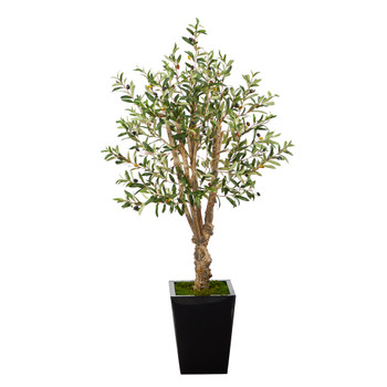 4.5 Olive Artificial Tree in Black Metal Planter - SKU #T2449