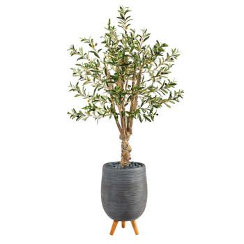 5 Olive Artificial Tree in Gray Tri-Pod Planter - SKU #T2451