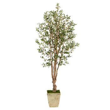 6.5 Olive Artificial Tree in Country White Planter - SKU #T2453