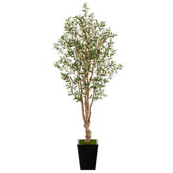 6.5 Olive Artificial Tree in Black Metal Planter - SKU #T2454