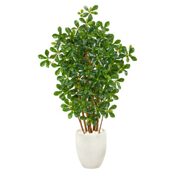 56 Black Olive Artificial Tree in White Planter - SKU #T2457